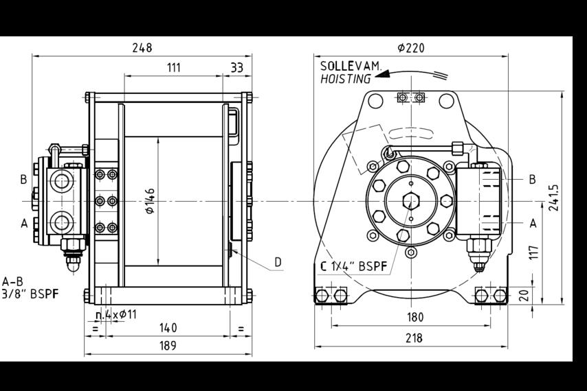 500 kg hydraulic winch tn04 - winches